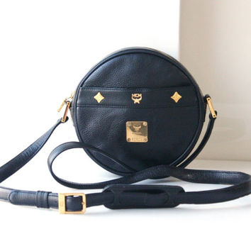 MCM Bags Black Round Cross Body Shoulder vintage authentic leather handbag