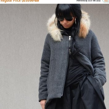 ON SALE Extravagant GREY Jacket / Waterproof black jacket / Party Coat/Fox Fur Hoodie