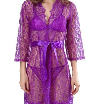 C| Chicloth Sexy Women Lingerie Sheer Lace Sleepwear Set