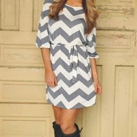 Chevron Grey Dress