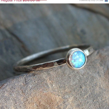 SAMPLE SALE Prototype Fauxpal Ring in Sterling Silver - Faux Opal Hammered Stacking Gemstone Ring - October Birthstone - Blue or White