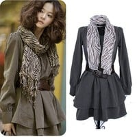 Fleece Dress with Belt and Scarf