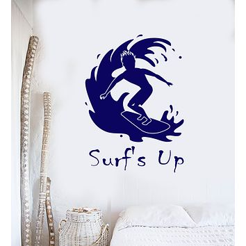 Vinyl Wall Decal Surfing Surf's Up Quote Surfer Surfboard Stickers (3194ig)