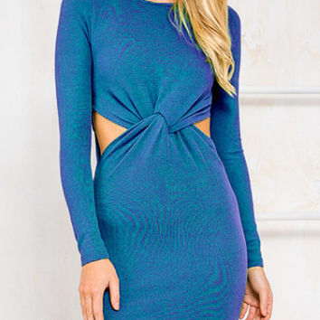Blue Knot Front Cut Out Long Sleeve Knit Mini Bodycon Dress