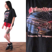 Vintage 1983 JUDAS PRIEST Screaming For Vengeance World Tour Concert T Shirt Tee // Biker Metal Hippie Hipster Boho // XS Small Medium Large