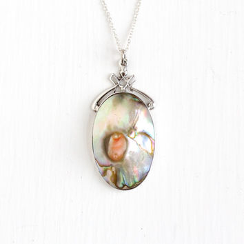 Vintage Sterling Silver Blister Pearl Necklace - Late Art Deco 1930s 1940s Abalone Oval Pendant Filigree Bail Silver Chain Jewelry