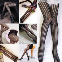 2016 Hot Fashion Women Ladies Sexy Black Fishnet Pattern Jacquard Calcetines Leg Warmers Stockings Pantyhose Tights