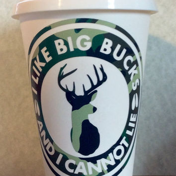 Vinyl reusable cup, reusable coffee cup, camo cup, big bucks cup, reusable coffee mug, vinyl reusable cup, big bucks coffee, deer hunting,
