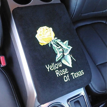 Center Console Cover Embroidered Yellow Rose of Texas for Any Car Truck or SUV Armrest Lid