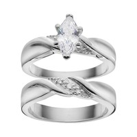 Cubic Zirconia & Diamond Accent Engagement Ring Set in Sterling Silver (White)