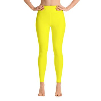 Solid Yellow Yoga Leggings