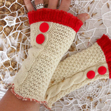 Cream gloves, Cream wool gloves, Cream fingerless gloves, red arm warmers, Red buttoned gloves, unique handmade gloves, Christmas gifts