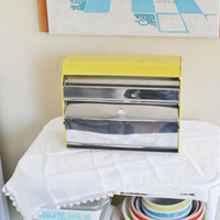 Vintage Retro Mustard Yellow Lincoln Beautyware Aluminum Foil, Waxed Paper, Paper Towel, Saran Wrap / Plastic Wrap, Wall Dispenser