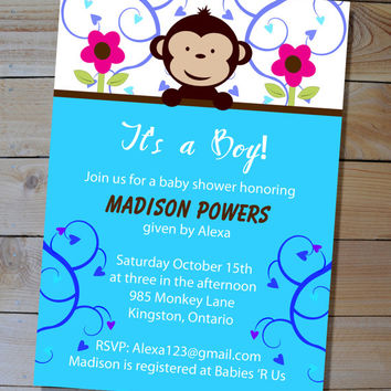 Monkey Baby Shower Invitation - Choose Your Colours - DIY Printable Invitation