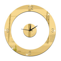 Home Decoration Wall Clock 3D Mirror Circle Sticking   golden