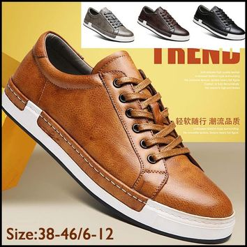 2018 New Brand Men's Fashion Leather Shoes Casual Shoes High Quality Oxford Flats