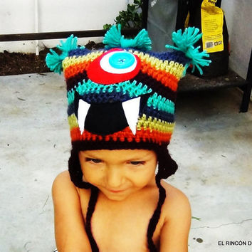 Crochet Hat Big Mouth Monster by elrincondeteo on Etsy