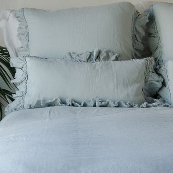 Corrina Linen Kidney Throw Pillow with Bias Raw Ruffle in CELADON