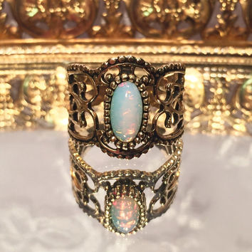 Vintage Sarah Coventry Moonstone Opal Gold Adjustable Ring Boho Style Ring Size 5 6 7 8 9