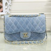 LMFUF3 CHANEL Women Denim Shopping Chain Shoulder Bag Satchel Crossbody