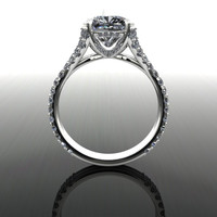 Forever Brilliant Moissanite Engagement Ring Cushion Cut 4.02 CTW