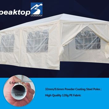 Peaktop® 20'x10' Heavy Duty Outdoor Canopy Gazebo Party Wedding Tent Pavilion w/ 6 Removable Side Walls