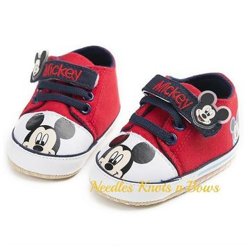 Baby Boys Mickey Mouse Shoes, Boys Crib Shoes, Mickey Mouse Birthday Shoes, First Walkers