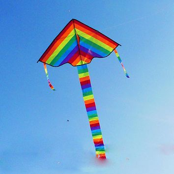Rainbow Kite Long Tail Nylon Outdoor Baby Toys For Children Kids Kites Stunt Kite Surf without Control Bar and Line Baby Toy