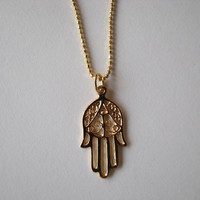 Filigree Hamsa Hand Charm Pendant Necklace 14K Gold Plated