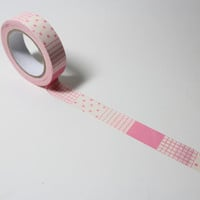 Pink Japanese Washi Tape, Scrapbook Decorative Tape, Pink Pattern Adhesive Tape, 15MM X 15 M Gift Wrap Tape