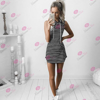 Causal Stripe Hooded Dress