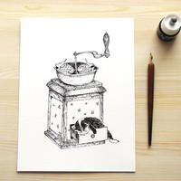 Ink Illustration - Kitten dreams mice in the coffee grinder