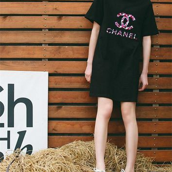 """""""Chanel"""" Loose Casual Letter Logo Print Short Sleeve Middle Long Section T-shirt Dress"""