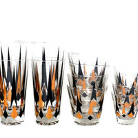 Mid Century Atomic Black & Gold Diamonds Arrows Glass Barware 12 Piece Set