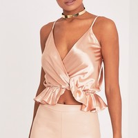 Felicitie Champagne Satin Frill Peplum Hem Sleeveless Top