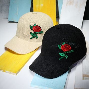 Women Vintage Baseball Caps Floral Rose Patch Cotton Line Knitted Baseball Hats Casual Solid Color Summer Hat Gorras Mujer
