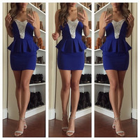 Jeweled Bodycon Peplum Dress - Blue