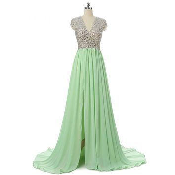 A Line Green Chiffon Long Prom Dresses Beading V Neck High Slit Backless Party Dress Prom Gown