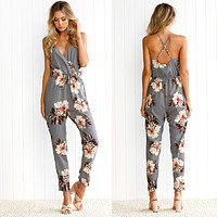 Women Casual Flower Print Backless Crisscross Strap Sleeveless V-Neck Romper Jumpsuit Trousers