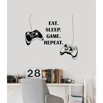 Vinyl Wall Decal Gaming Quote Joysticks Gamer Room Decor Idea Stickers Mural (ig6185)