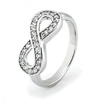 TIONEER Sterling Silver Channel Set Infinity Symbol Ring, Size 6