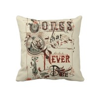 Vintage Antique Typography Music Songs Harp Throw Pillow