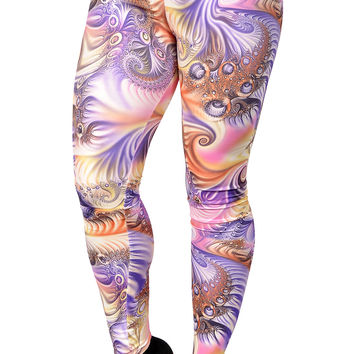 BadAssLeggings Women's Future Design Leggings Medium Purple And Pink