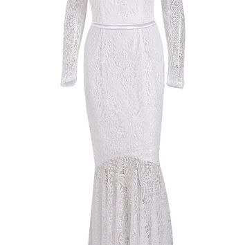 Honey Couture KAIYA White Long Sleeve Off Shoulder Lace Formal Gown Dress