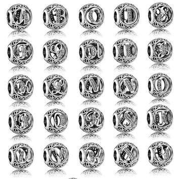 26 KINDS OF ALPHABET LETTER BEAD FIT FOR PANDORA DIY ACCESSORIES 925 STERLING SILVER B
