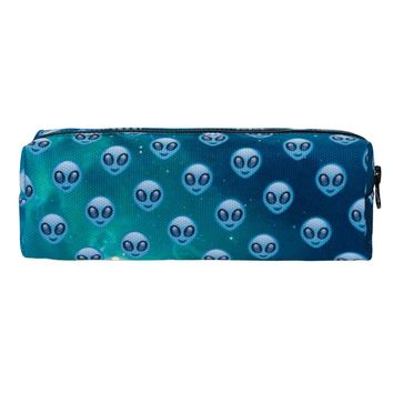 Emoji Space Alien Blue Travel Cosmetic Makeup Bag