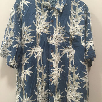 Mens Vintage Silk Shirt, Mens Hawaiian Shirt, Tropical Print, Short Sleeve Silk Button Down Shirt Blue Bamboo Print Jamaica Jaxx XL Shirt