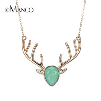 eManco brand image deer necklace crystal copper animal pendant christmas gifts choker necklaces for women bisuteria mujer
