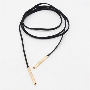 2Pcs Fashion women long black leather choker jewelry leather necklace women accessories sale chocker necklace fashion necklaces + gift box +Free Gift Christmas Gold Necklace