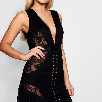 Di Lace Up Suedette Fringed Bodycon Dress | Boohoo